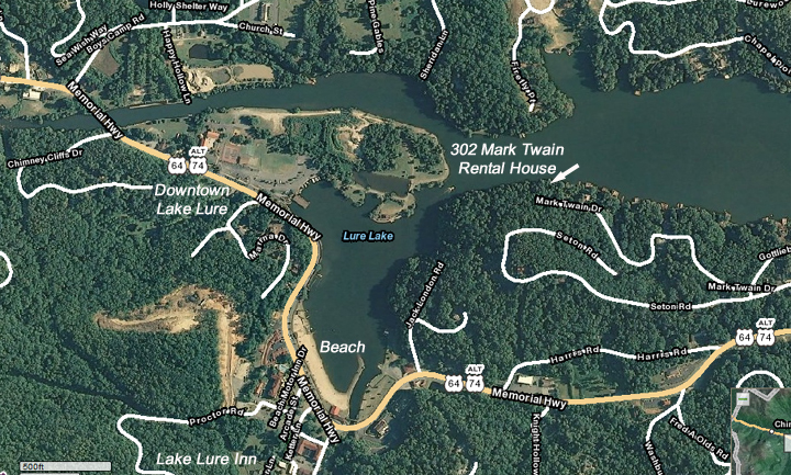 Lake Lure Vacation Rental House Map